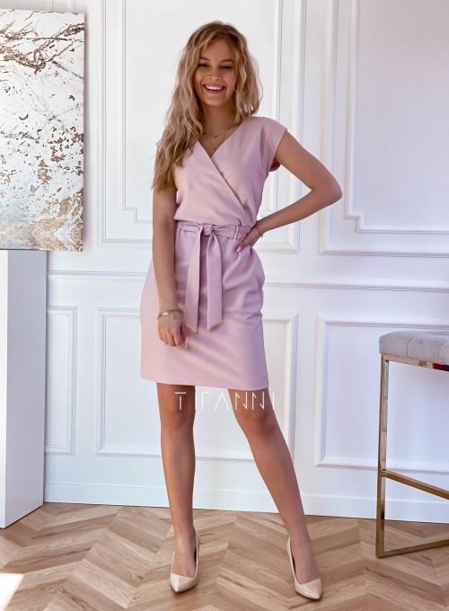Elegancka sukienka Alexia pudrowa 5