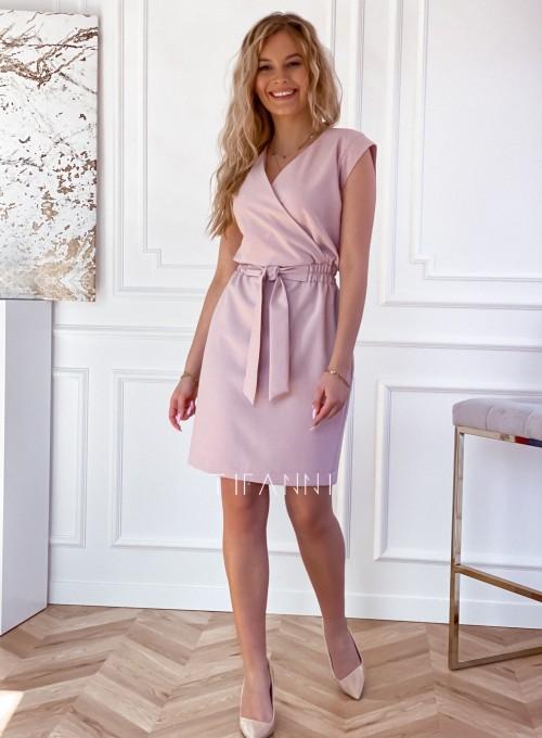 Elegancka sukienka Alexia pudrowa 1