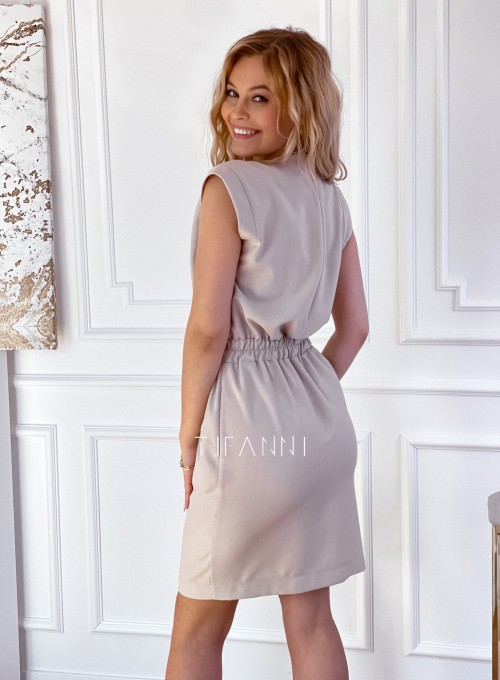 Elegancka sukienka Alexia beżowa 2