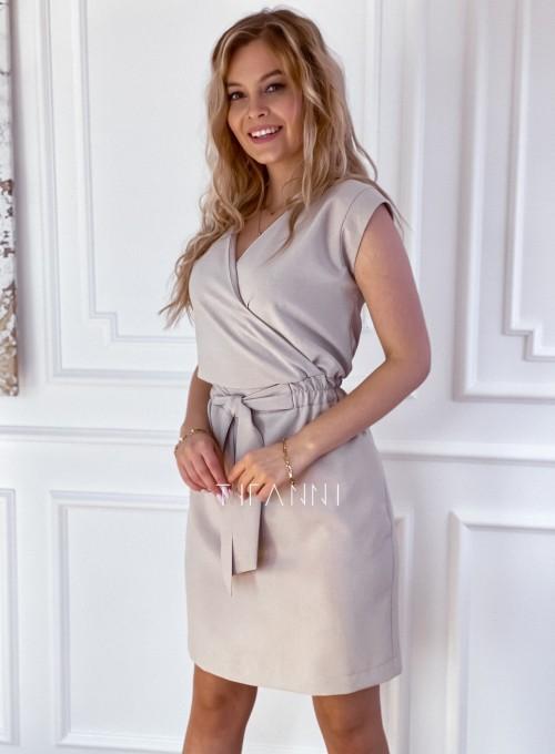 Elegancka sukienka Alexia beżowa 4