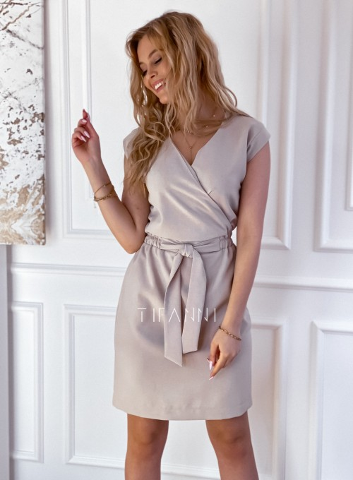Elegancka sukienka Alexia beżowa 5