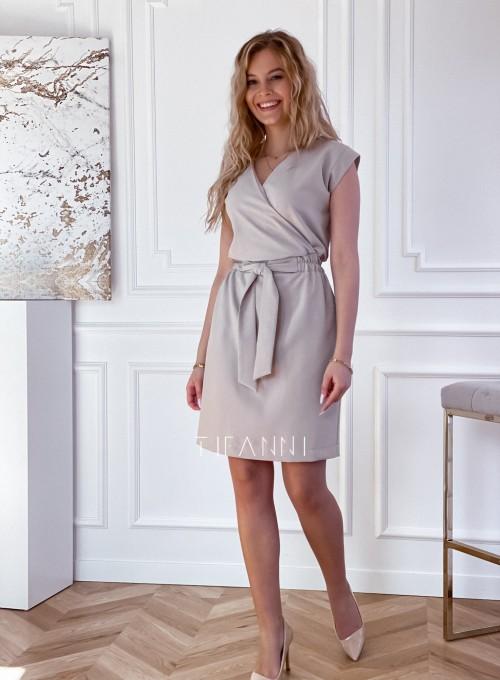 Elegancka sukienka Alexia beżowa 6