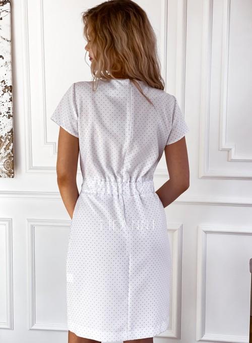 Elegancka sukienka Alexia śmietankowa w groszki 1