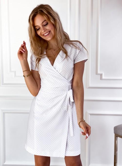 Elegancka sukienka Alexia śmietankowa w groszki 2