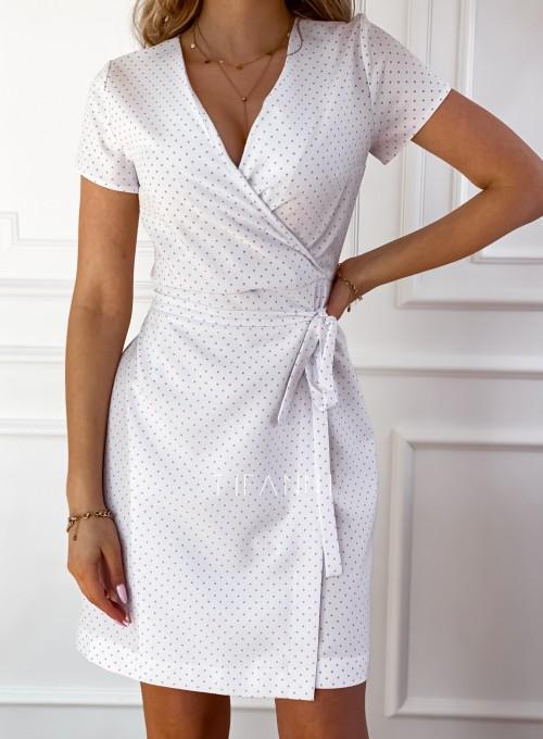 Elegancka sukienka Alexia śmietankowa w groszki 3