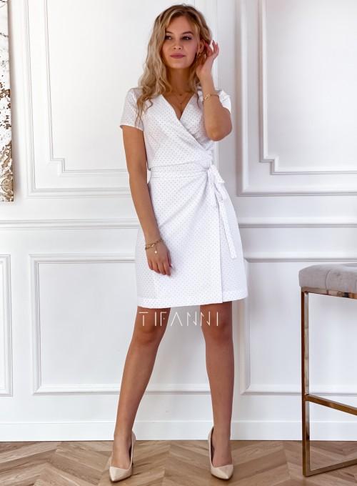 Elegancka sukienka Alexia śmietankowa w groszki 5