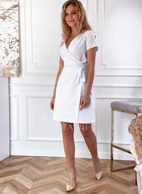 Elegancka sukienka Alexia śmietankowa w groszki 6