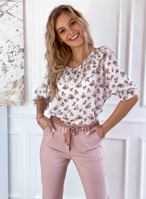 Szyfonowa bluzka z żabotem Prandi w kwiatki 4
