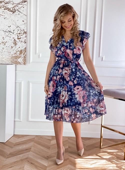 Plisowana kwiatowa sukienka Valeria granatowa 1