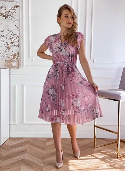 Plisowana kwiatowa sukienka Valeria pudrowa