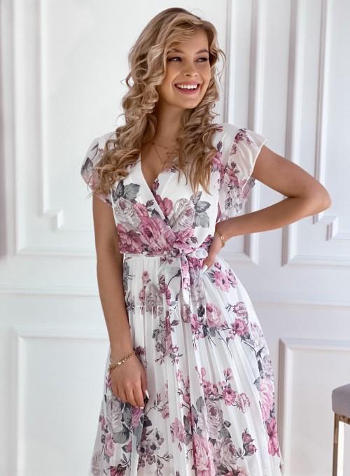 Plisowana kwiatowa sukienka Valeria śmietankowa 1