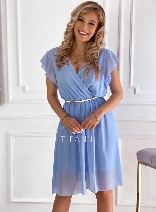 Szyfonowa sukienka Aston błękitna