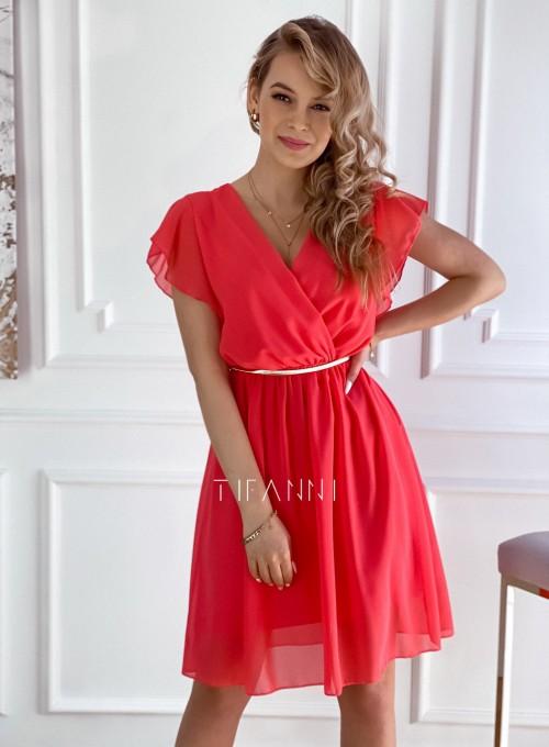 Szyfonowa sukienka Aston koralowa
