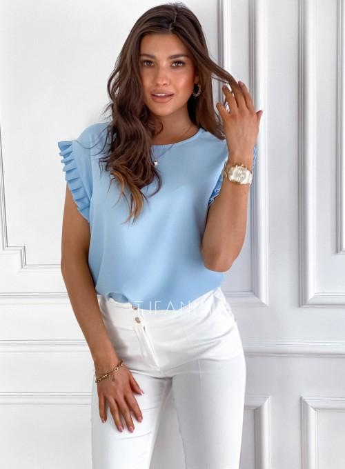 Bluzka z marszczonymi rękawkami Marsala błękitna 2