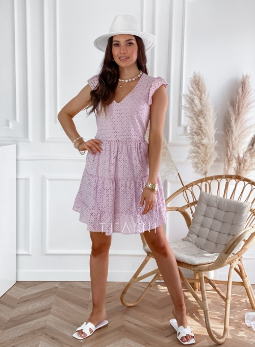 Ażurowa sukienka Casandra pudrowa 2