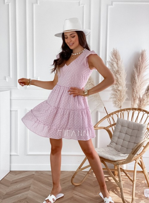 Ażurowa sukienka Casandra pudrowa 3