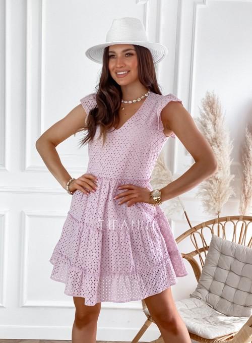 Ażurowa sukienka Casandra pudrowa 4
