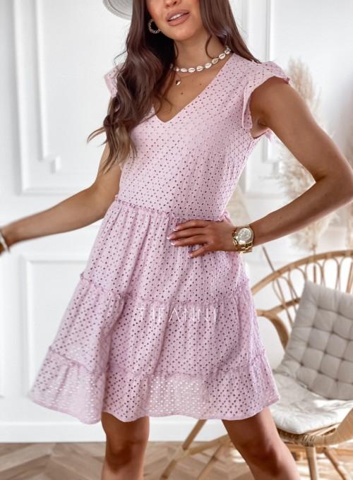 Ażurowa sukienka Casandra pudrowa 1