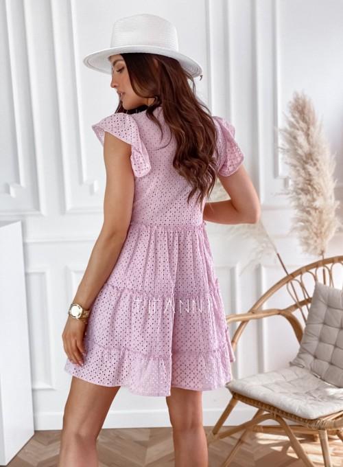Ażurowa sukienka Casandra pudrowa 5