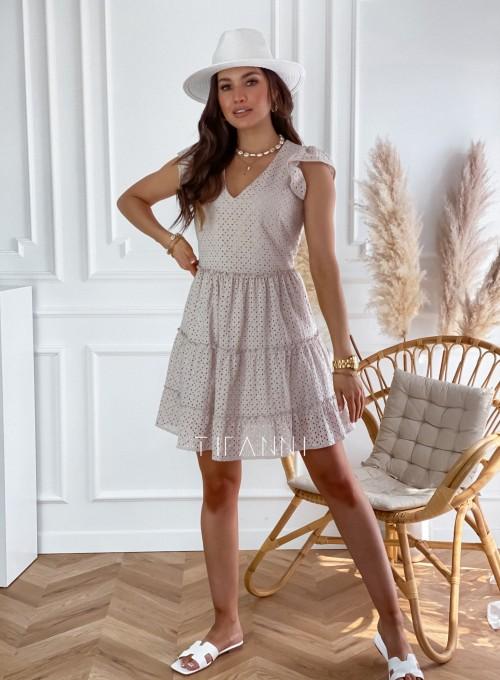 Ażurowa sukienka Casandra beżowa 2