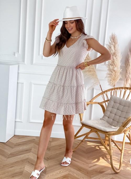Ażurowa sukienka Casandra beżowa 3