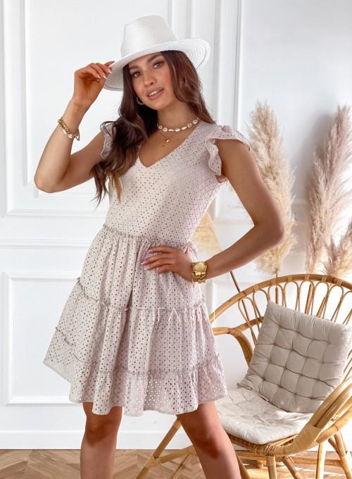Ażurowa sukienka Casandra beżowa 4