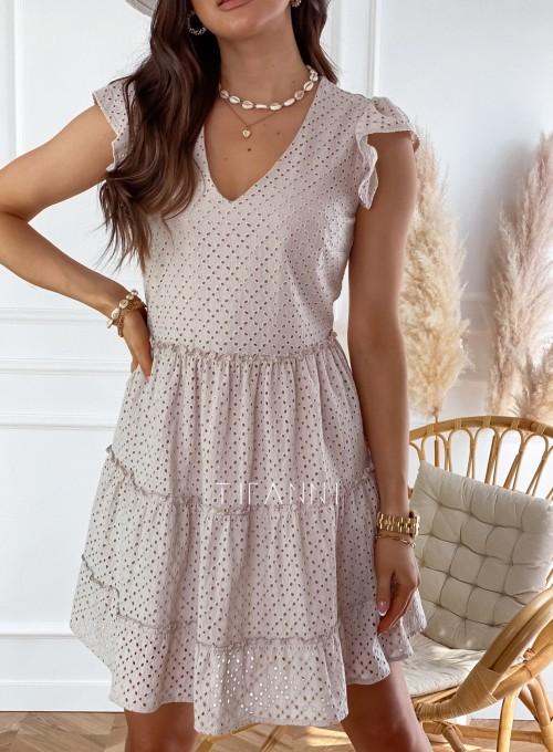 Ażurowa sukienka Casandra beżowa 1