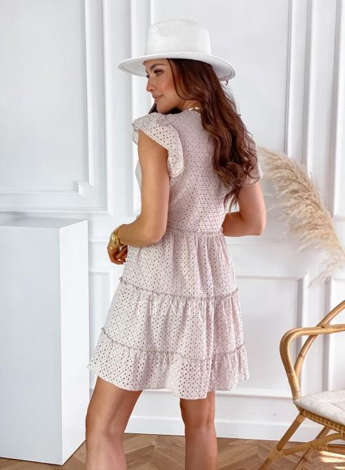 Ażurowa sukienka Casandra beżowa 5