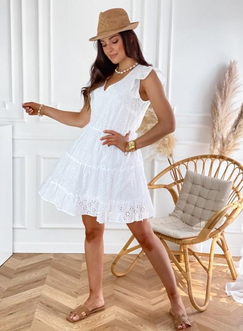 Ażurowa sukienka Casandra biała 2