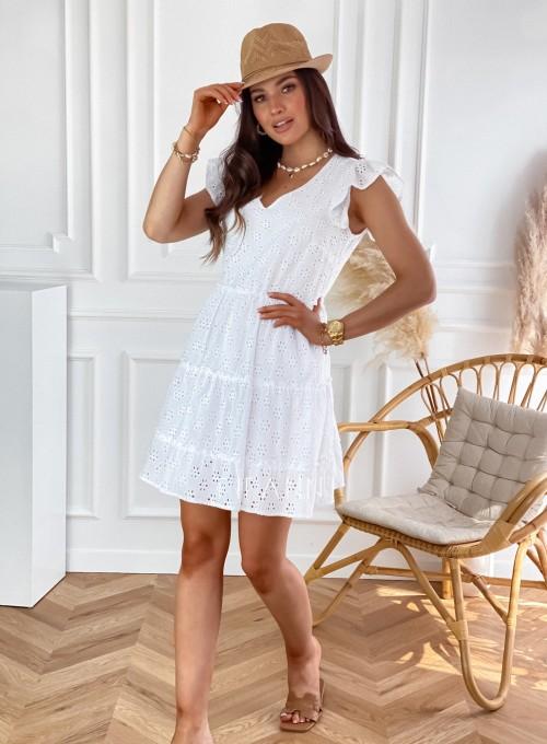 Ażurowa sukienka Casandra biała 3
