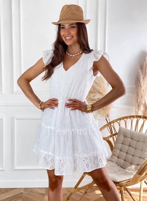 Ażurowa sukienka Casandra biała 4