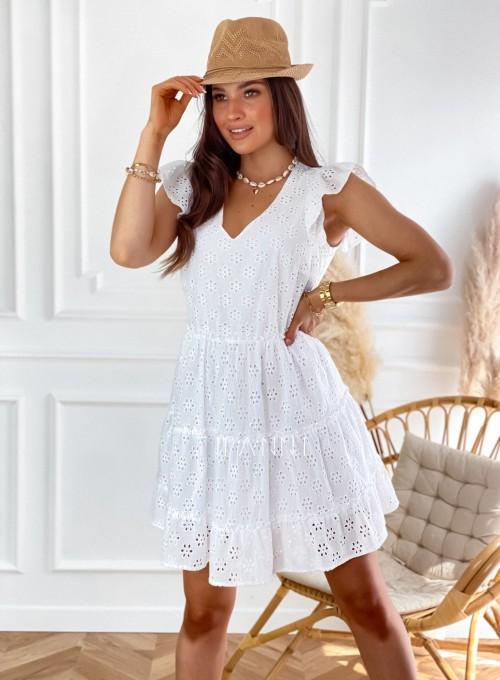 Ażurowa sukienka Casandra biała 5