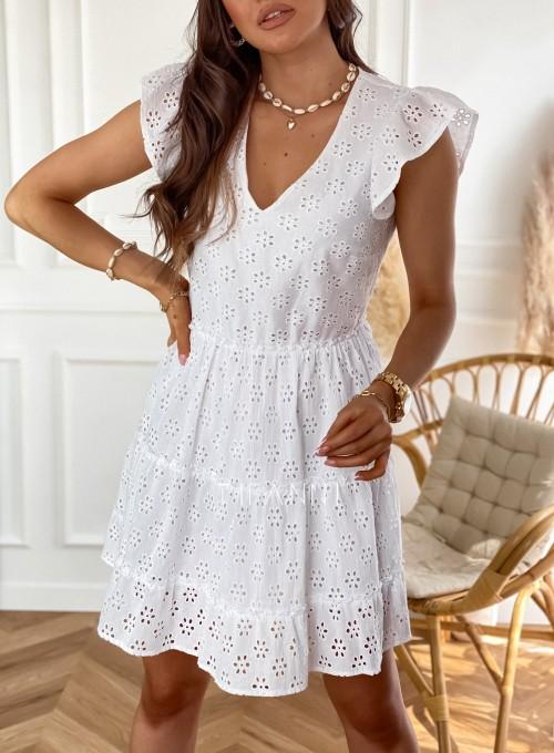 Ażurowa sukienka Casandra biała 1