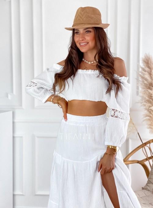 Komplet bluzka hiszpanka ze spódnicą Vandi biały 2