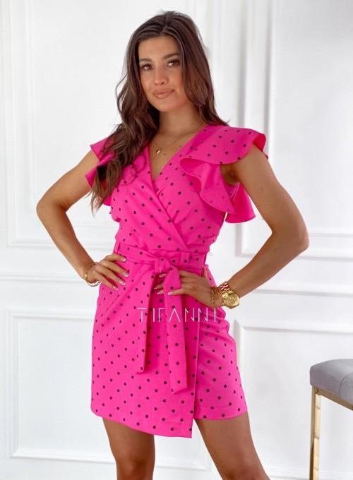 Elegancka sukienka Cristi fuksja w czarne groszki 2