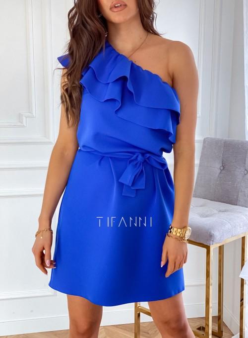 Sukienka na jedno ramię Kayra kobalt 3