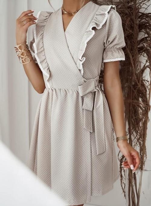 Sukienka kopertowa Susan beżowa 2