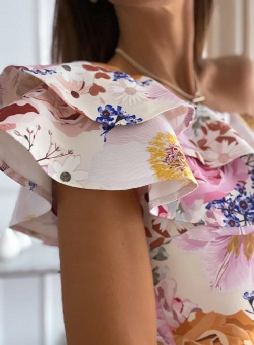 Sukienka na jedno ramię Kayra flowers II 2