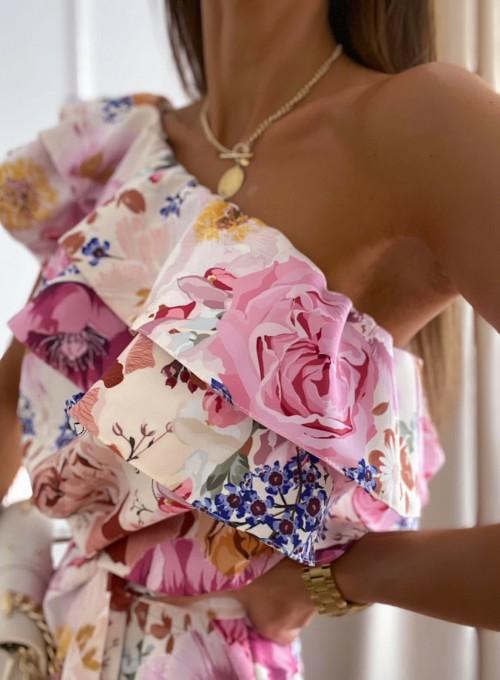 Sukienka na jedno ramię Kayra flowers II 3