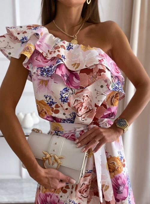 Sukienka na jedno ramię Kayra flowers II 4