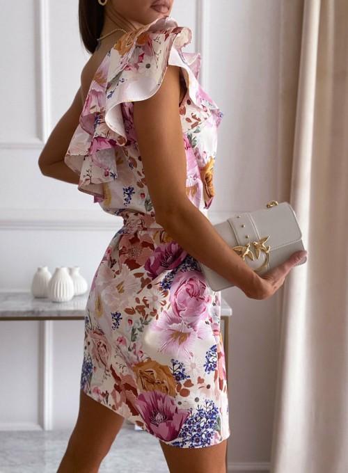 Sukienka na jedno ramię Kayra flowers II 1