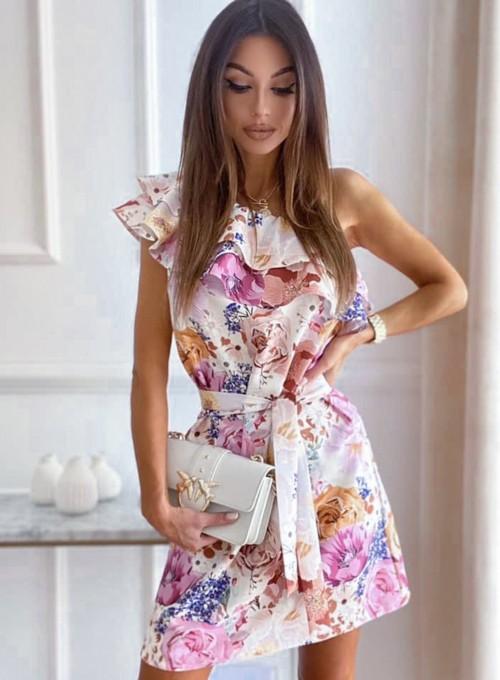 Sukienka na jedno ramię Kayra flowers II