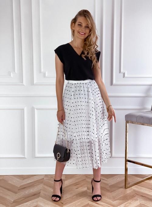 Spódnica Sisi biała w groszki 1