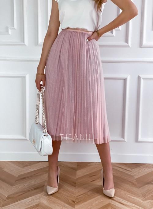 Elegancka plisowana spódnica Loren pudrowa