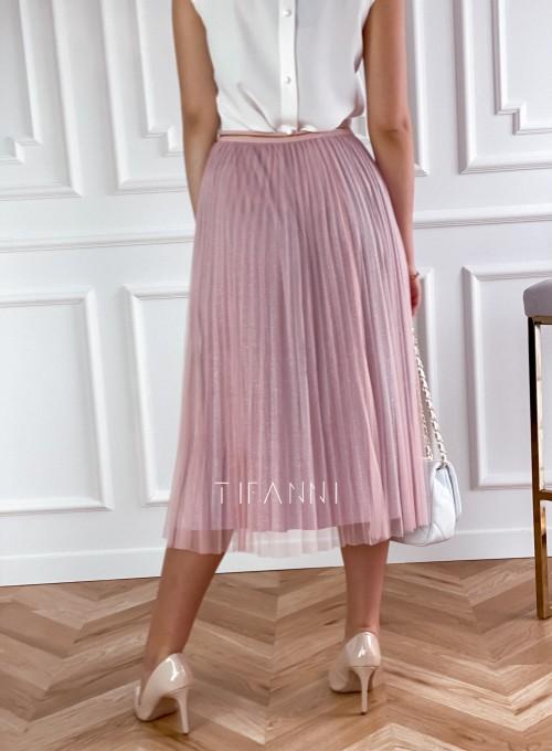 Elegancka plisowana spódnica Loren pudrowa 2