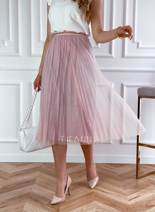 Elegancka plisowana spódnica Loren pudrowa 3