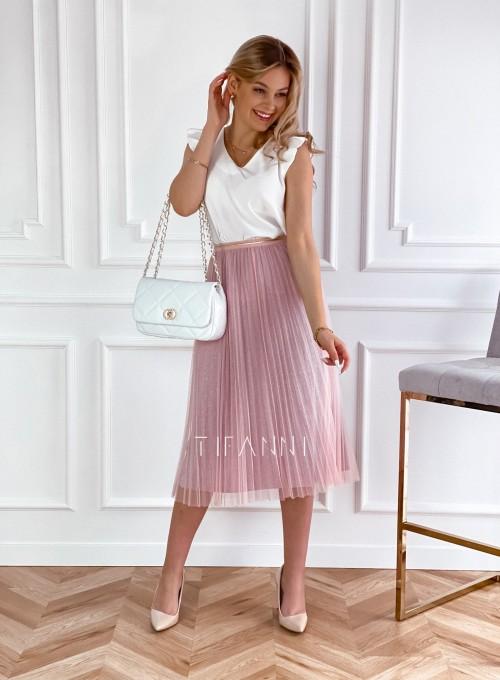 Elegancka plisowana spódnica Loren pudrowa 1