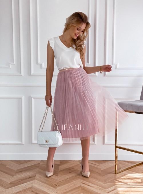 Elegancka plisowana spódnica Loren pudrowa 4