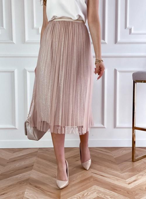 Elegancka plisowana spódnica Loren beżowa
