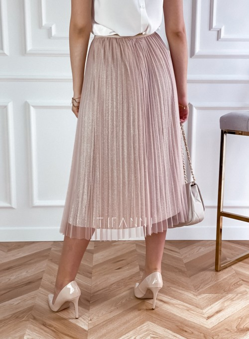 Elegancka plisowana spódnica Loren beżowa 2
